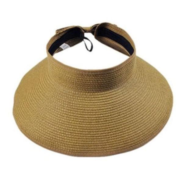 Tom solhatt - Andningsbar vikbar sugrör Hatt - Kvinnlig hatt Khaki
