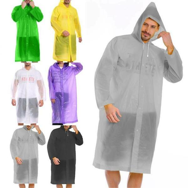 Hooded Poncho / for Outdoor / Vuxen bärbar vattentät regnrock Transparent