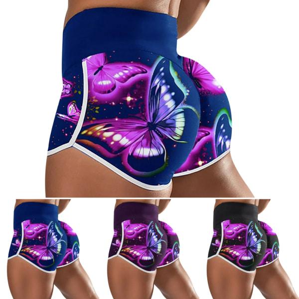 Butterfly Print Yoga Shorts / High Elasticity / för kvinnor Sp Blue L