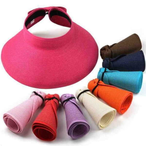 Tom solhatt / andningsbar fällbar sugrör hatt / kvinnahatt Black