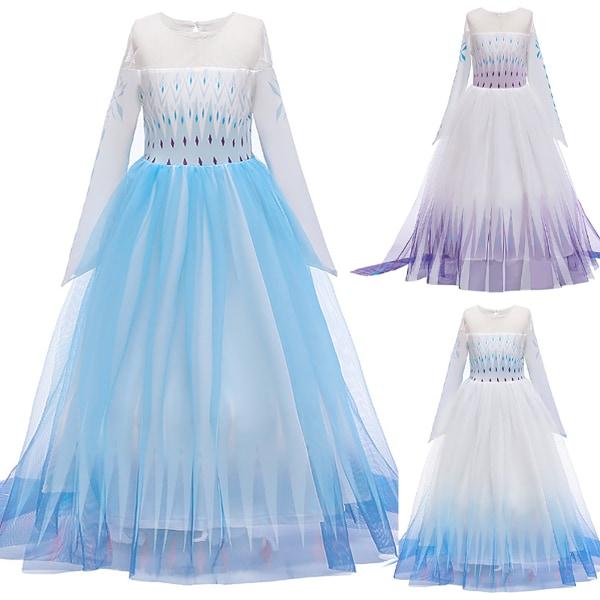 Frozen 2 Queen / Elsa / Costume Party Dress Up for Girls Cosplay 120CM Gradient blue