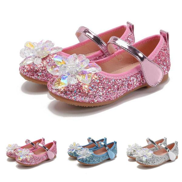 Flickor Kristallskor Glasblommaprinsesskor Mjukåskor Pink 29