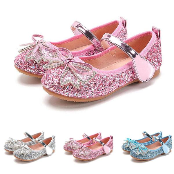 Flickor paljetterade kristallskor enkla skor för bågbanket Sliver 35