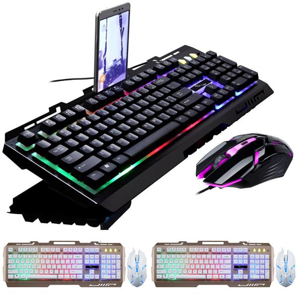 Keyway LED Rainbow Glowing Gaming-tangentbord och musuppsättning Black