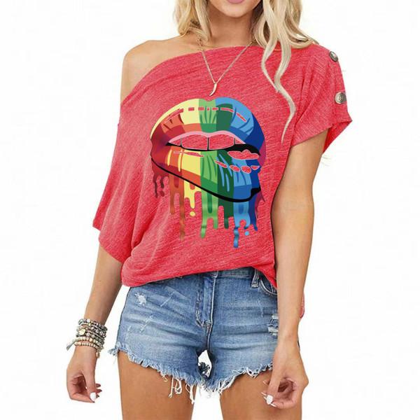 Kortärmad T-shirt dam med tryckt T-shirt med off-shoulder-tryck Rose Red 2XL