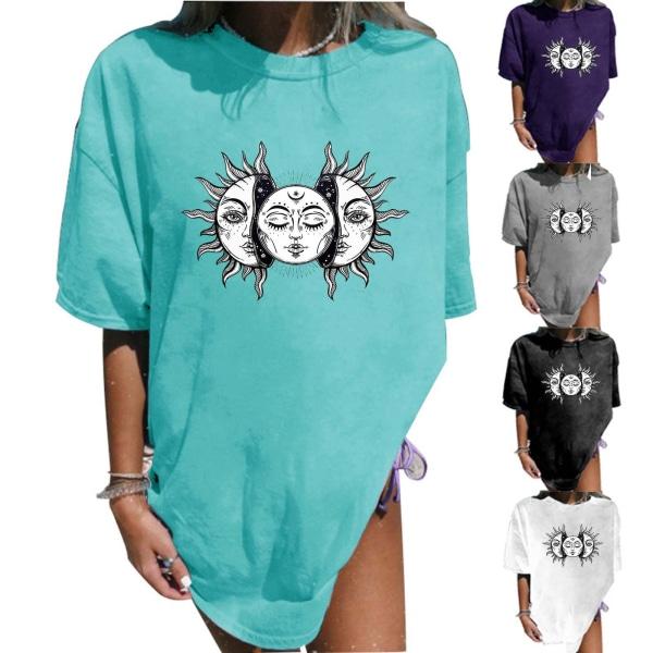 Kvinnors mellanlång T-shirt tryckt rund hals Kortärmad topp Blue 2XL