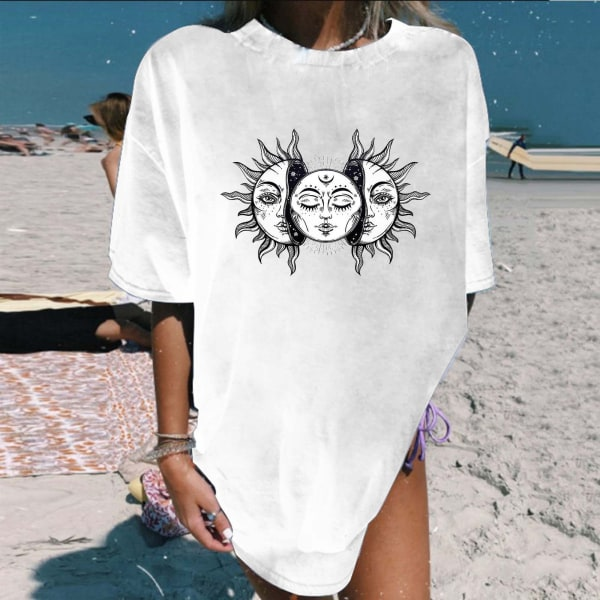 Kvinnors mellanlång T-shirt tryckt rund hals Kortärmad topp Blue M