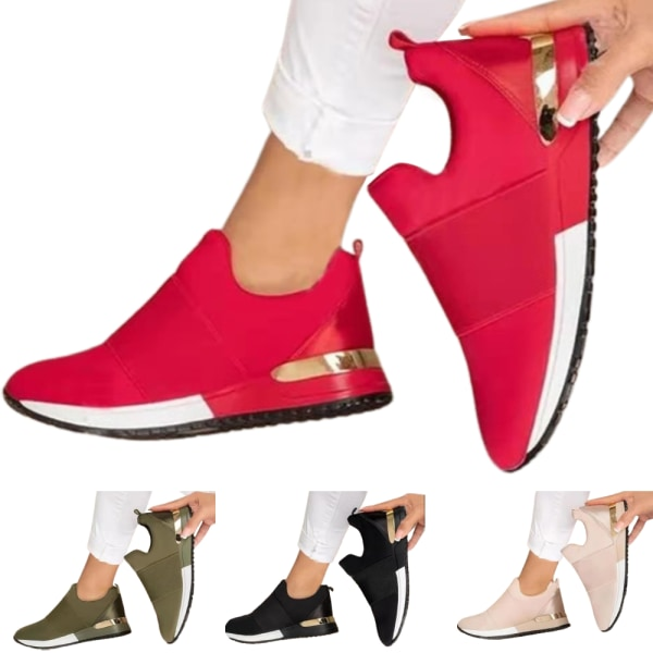 Enfärgade sportskor för damer - Mjuka andningsskor - Red 38