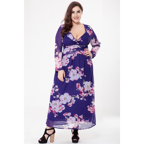 Stor storlek kvinnor klänning andas lätt chiffong tryck sexig klänning purple 4XL