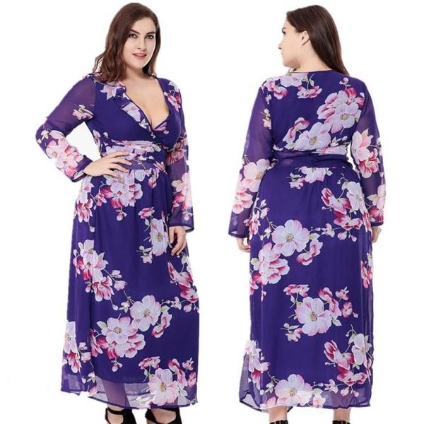 Stor storlek kvinnor klänning andas lätt chiffong tryck sexig klänning purple XXXL