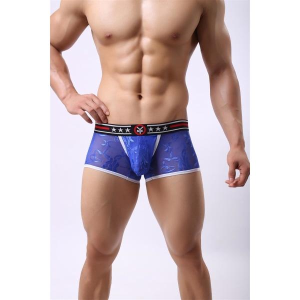 Lace Boxershorts för män Sexig andningsbar underdel med låg midja Black M