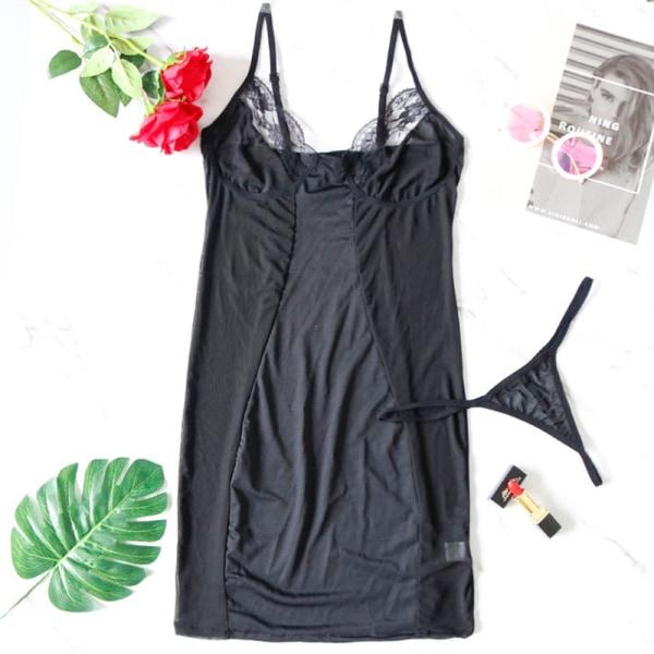 Mesh Stitching Sexig underkläder - Genomskinlig sexig Slim-fit pyjam Black XL