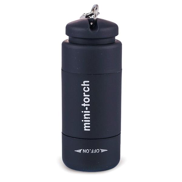 Mini LED USB-ficklampa Utomhus Camping Torch Nyckelringar Black