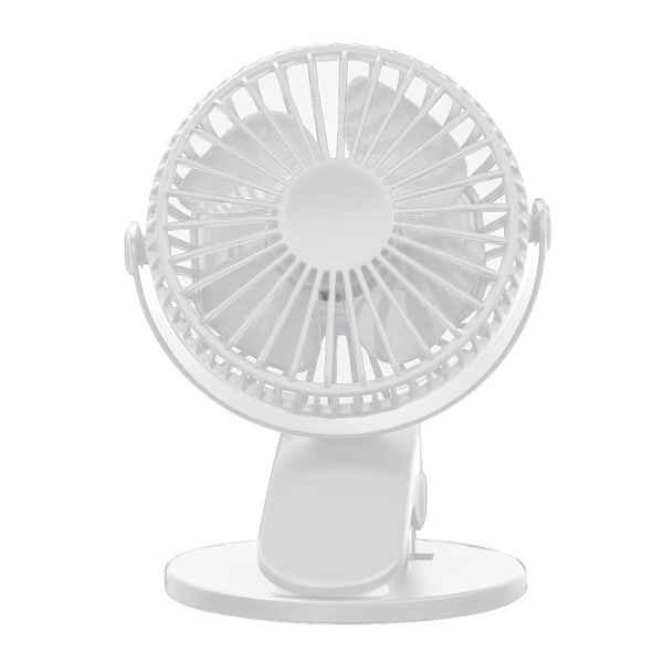Mini USB-fläkt, bärbar klämbar bordsfläkt, roterande tyst fläkt White
