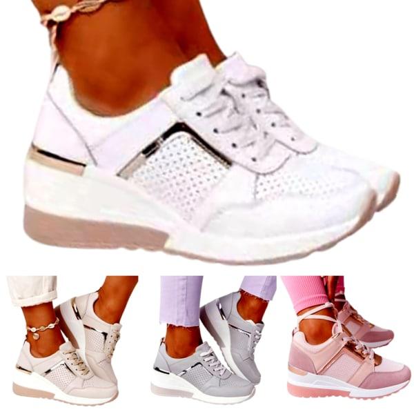 Plattform Snörning med kilklack - för kvinnor Jogging Fitne Light brown 41
