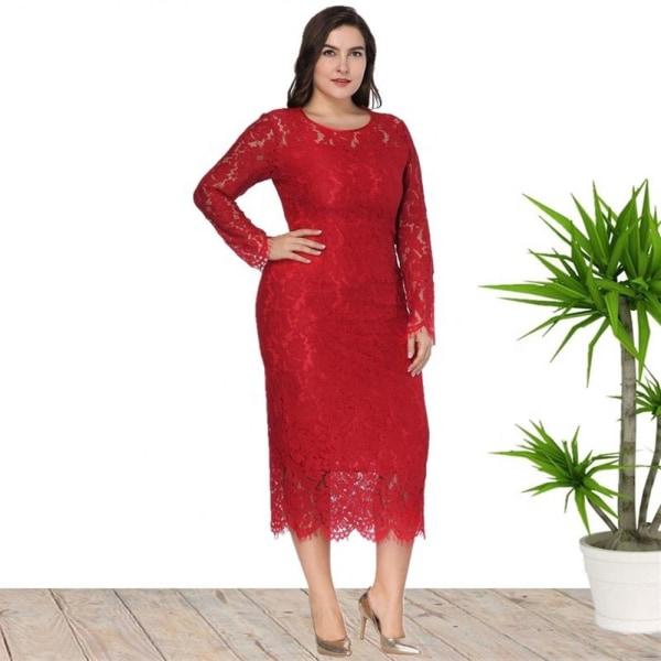 Plus Size Fat kvällsklänning Långärmad spets Slim Dress black XL