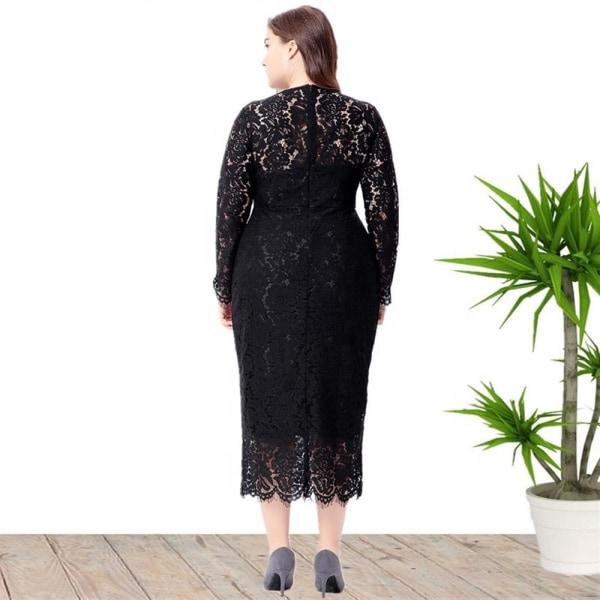 Plus Size Fat kvällsklänning Långärmad spets Slim Dress white 5XL