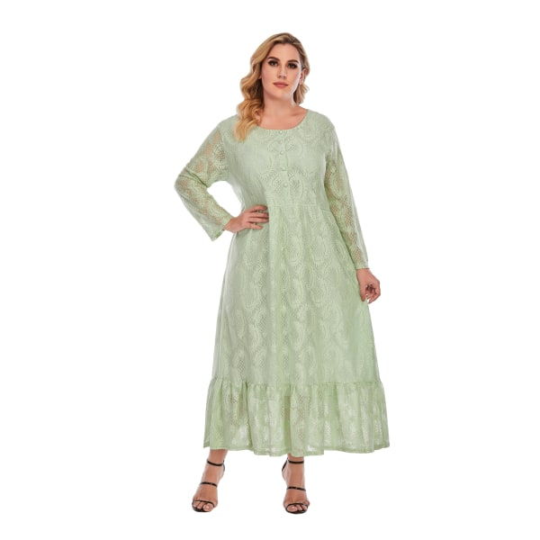 Plus Size Fat Kvinnors enfärgade spetsar Långärmad volangklänning light green 2XL