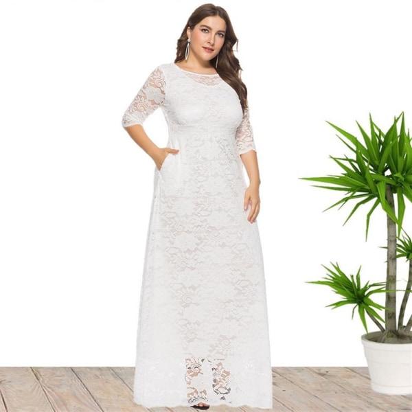 Plus Size Damklänning Spetsficka Aftonklänning Lång kjol grey XXXL