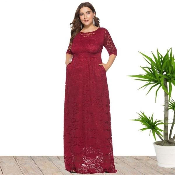 Plus Size Damklänning Spetsficka Aftonklänning Lång kjol wine red XL