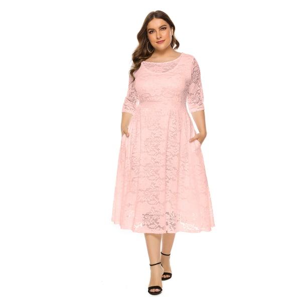 Plusstorlek kvällsklänning med rund hals Chiffongklänning pink 5XL