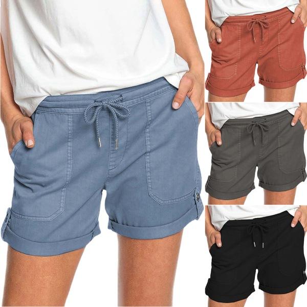 Pure Color Straight Shorts med remmar / mångsidig / för kvinnor Grey 2XL
