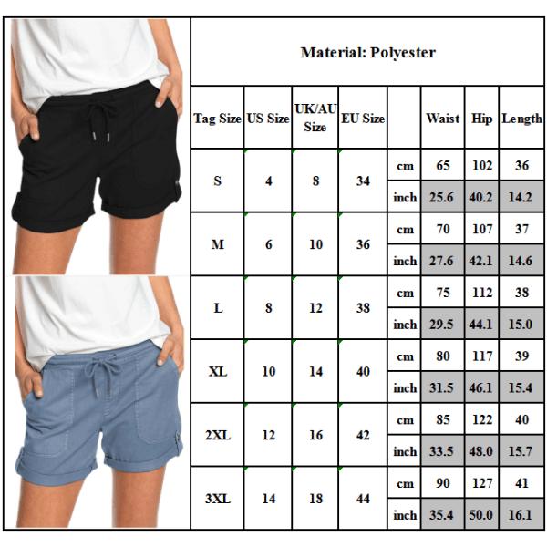 Pure Color Straight Shorts med remmar / mångsidig / för kvinnor Grey XL