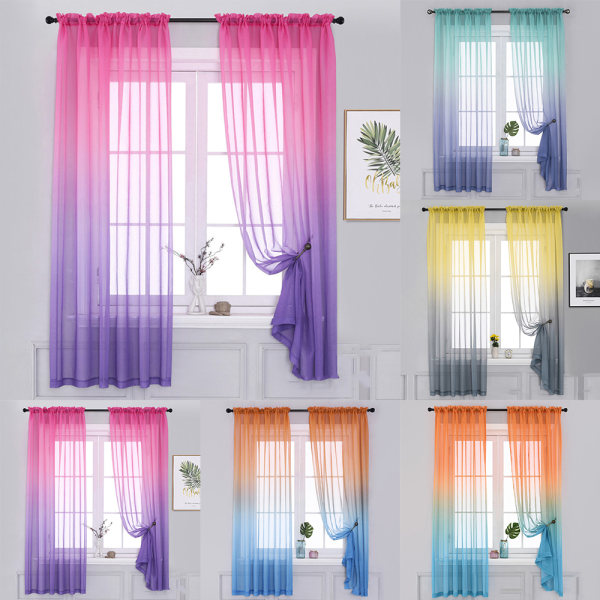 Rainbow Gradient Color Sheer Tulle For Window Decor Curtain Grey & Yellow