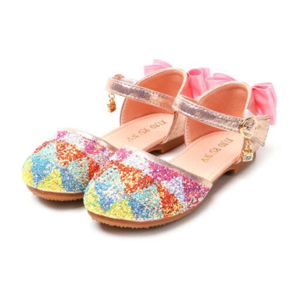 Paljetterade flickasandaler Mjuka såla platta sandaler Prinsessaskor Sliver 20cm