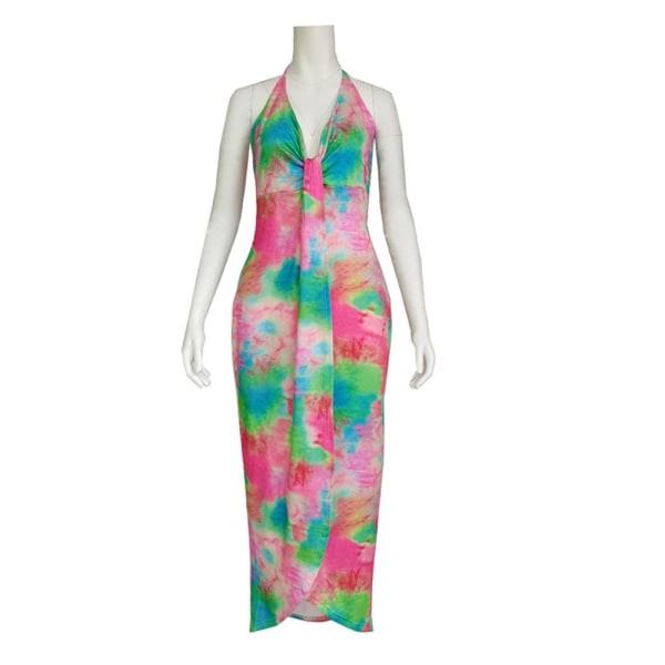 Sexig fet damklänning tryckt stickad sling kjol klänning pink S
