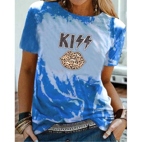 Sommar damer grafiskt tryck löst rund hals T-shirt med halv ärm Blue 2XL