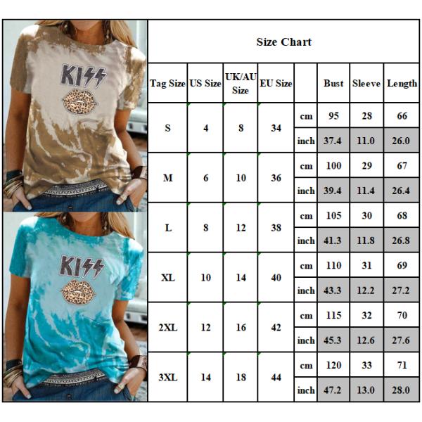 Sommar damer grafiskt tryck löst rund hals T-shirt med halv ärm Green S