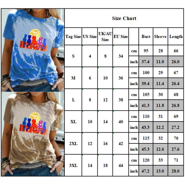 Sommar Kvinnors kortärmade T-shirt Lös rund hals topp Khaki XL