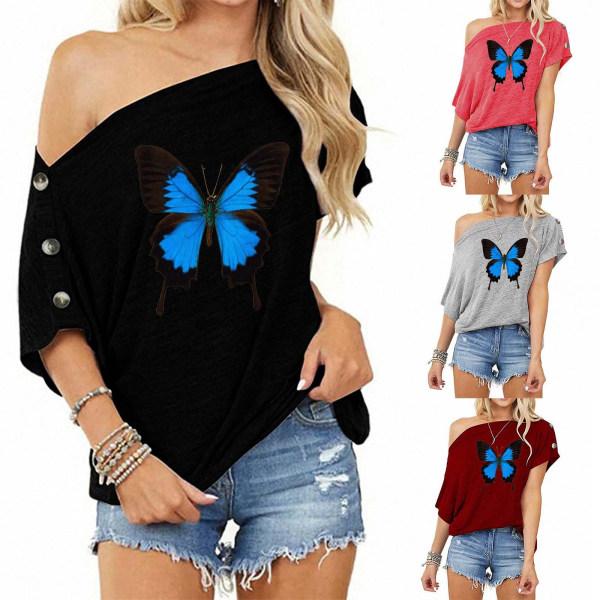 T-shirt med en axel för kvinnor Butterfly Print Off-shoulder Top Wine Red 2XL