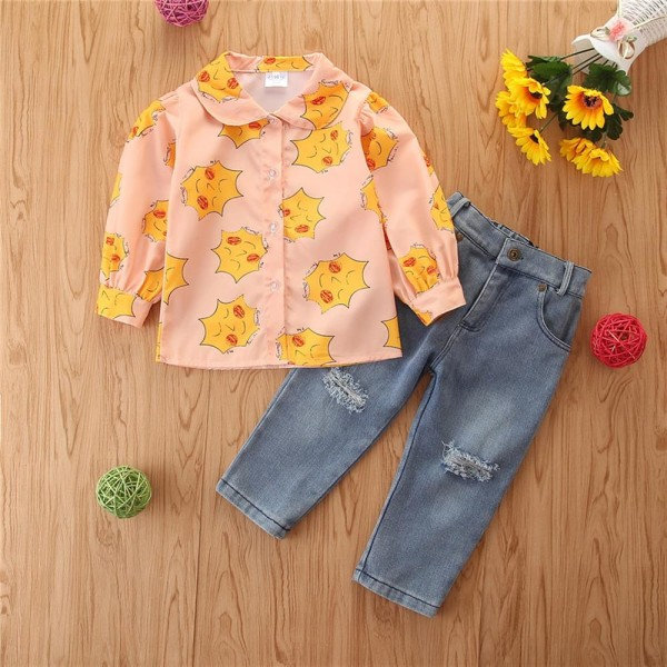 Tjejer Sun Smiley Shirt Jeans kostym Långärmade byxor Shirt + Pant 5 - 6 Years