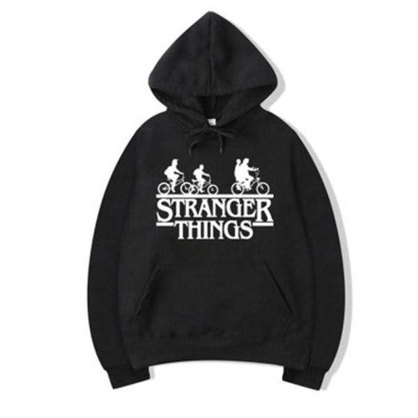 Avslappnade sporttoppar / Unisex Stranger Things huvtröja / avsl Black S