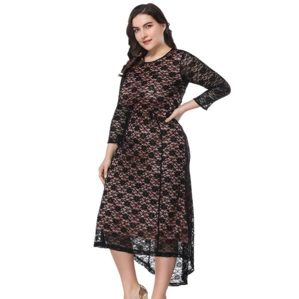 Kvinnakvällsklänning var tunn Hög midja stor spets klänning black 6XL