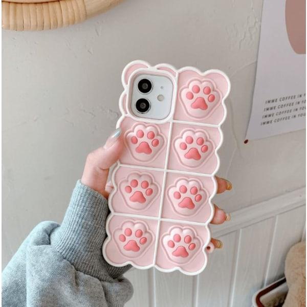 Puppy Paws Pop it Fidget -kotelo iPhone 11: lle - vaaleanpunainen