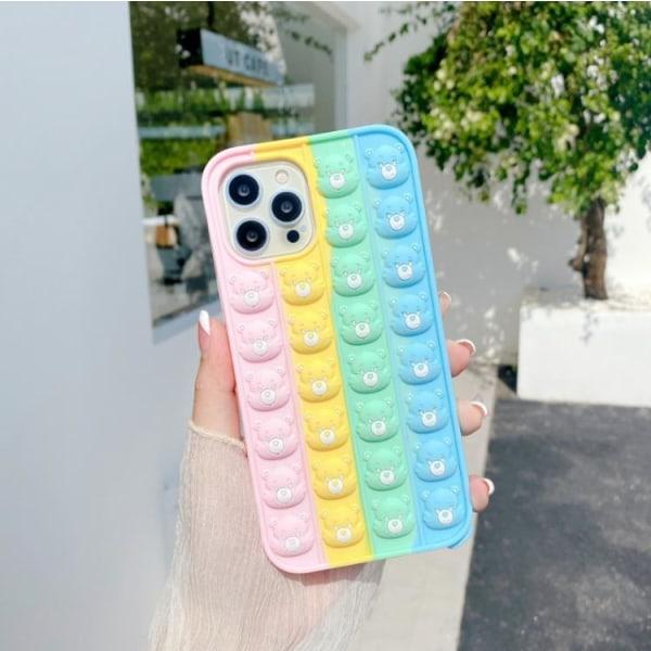 MultiColor Bear Faces Pop it Fidget Cover til iPhone 11