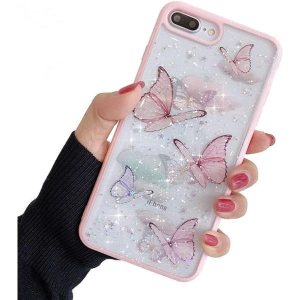 Bling Star Butterfly Skal till iPhone 7/8/SE (2020) - Rosa