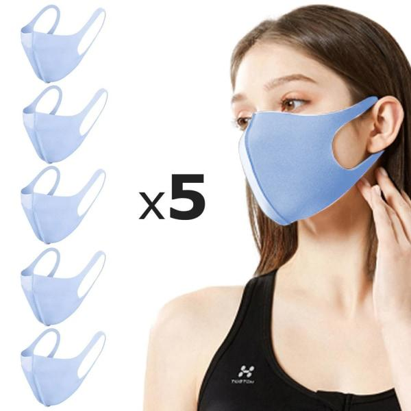 5 Pack Tvättbar mask Munskydd Skyddsmask Blå Blå