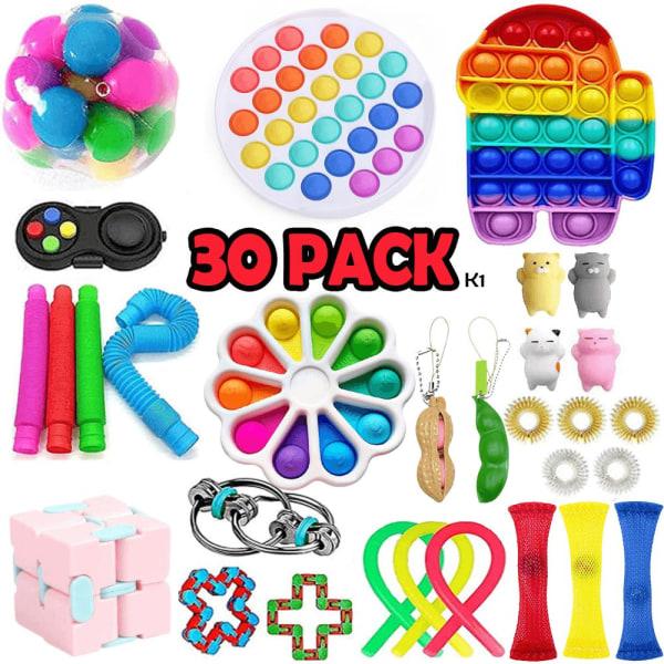 30 Pack Fidget Toy Set Pop it Sensory Toy för Vuxna & Barn