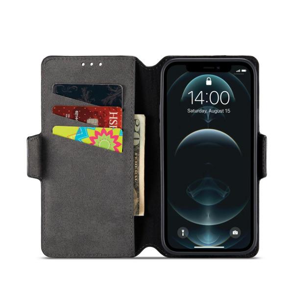 Muxma Saffiano Plånboksfodral till Apple iPhone 12 Mini - Svart