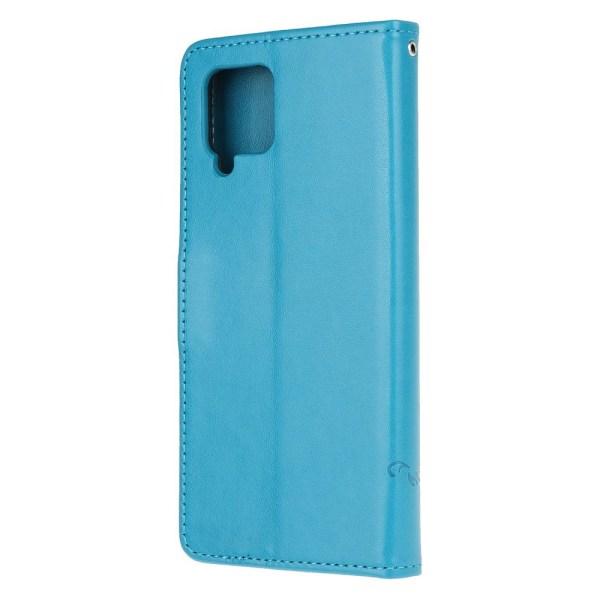 Butterfly Plånboksfodral Samsung Galaxy A12 - Blå