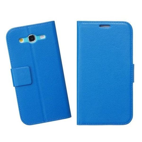 Embossed Plånboksfodral till Samsung Galaxy Mega 5.8 i9150 (Blå)