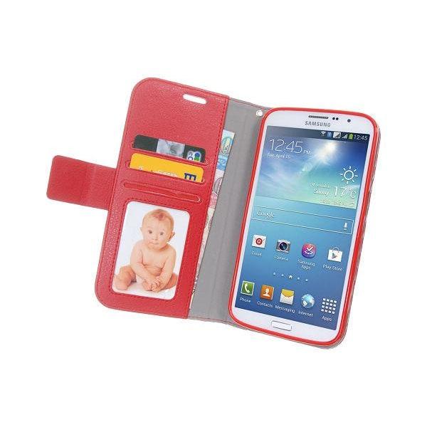 Embossed Plånboksfodral till Samsung Galaxy Mega 5.8 i9150 (Röd)