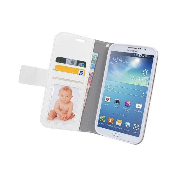 Embossed Plånboksfodral till Samsung Galaxy Mega 5.8 i9150 (Vit)