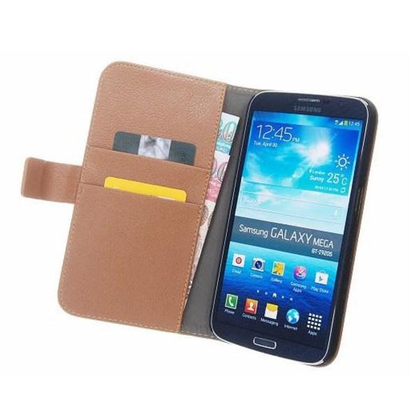 Embossed Plånboksfodral till Samsung Galaxy Mega i9200 (Brun)
