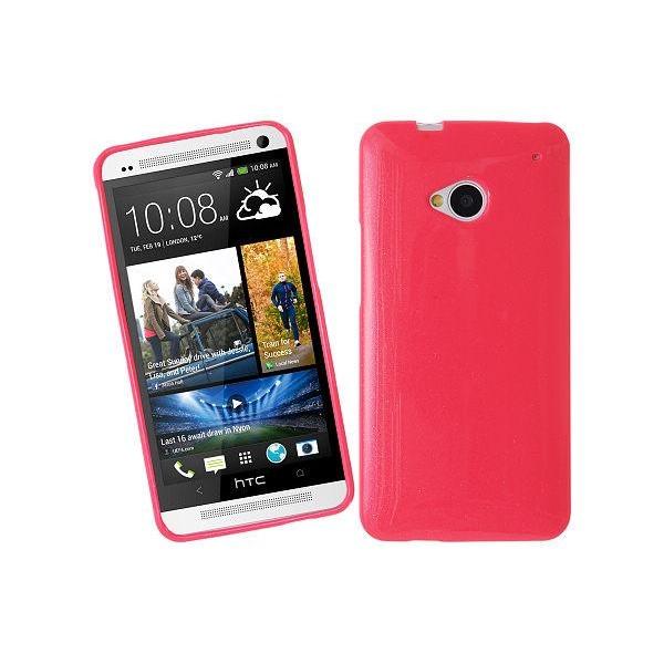 Glittery FlexiSkal till HTC One (M7) (Magenta)