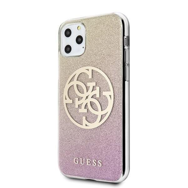 Guess iPhone 11 Pro skal Glitter 4G Circle Logo guld Rosa